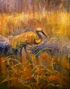 Sandhill Crane in the Fall Reeds